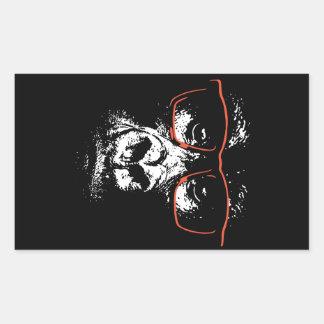 Pegatina Rectangular Vidrios del rojo del gorila
