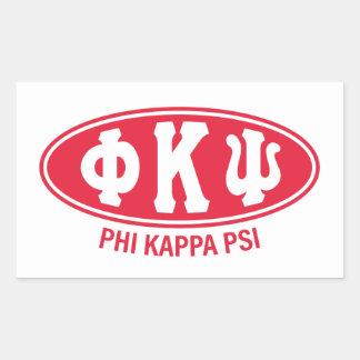 Pegatina Rectangular Vintage de Kappa PSI el | de la phi