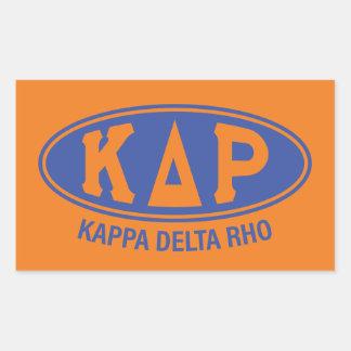 Pegatina Rectangular Vintage de rho el | del delta de Kappa