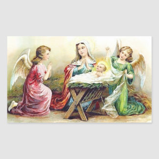 Pegatina Rectangular Vintage Jesús con ángeles