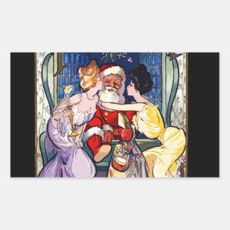 Pegatina Rectangular Vintage Papá Noel