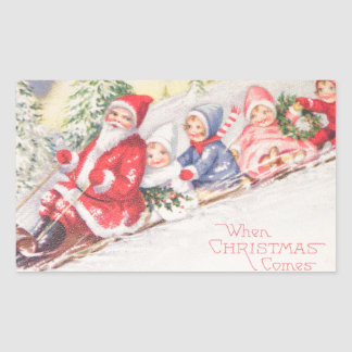 Pegatina Rectangular vintage-santa-christmas-post-cards-0390