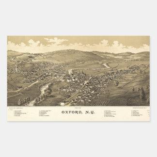 Pegatina Rectangular Vista aérea de Oxford, Nueva York (1888)