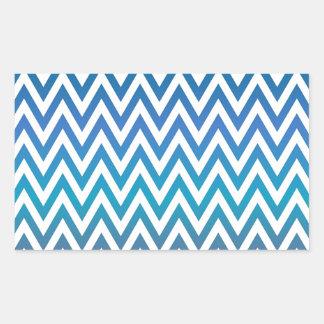 Pegatina Rectangular zigzag, colorido, divertido, azul y verde