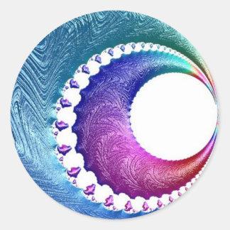Pegatina Redonda 108-43 azules y luna creciente rosada