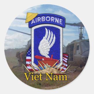 Pegatina Redonda 173a guerra de Vietnam de la brigada