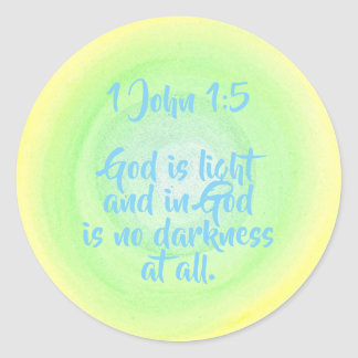 Pegatina Redonda 1 Juan 1 5, dios es luz, ninguna oscuridad,