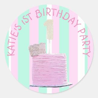 Pegatina Redonda 1ros pegatinas personalizados del cumpleaños para