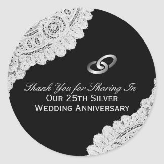 Pegatina Redonda 25to El aniversario de bodas de plata le agradece