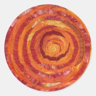 Pegatina Redonda 2nd-Sacral Chakra - Pintura-Tela anaranjada #2