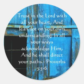 Pegatina Redonda 3:5 inspirado de los proverbios de la cita de la