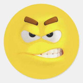 Pegatina Redonda 3D efecto enojado Emoji