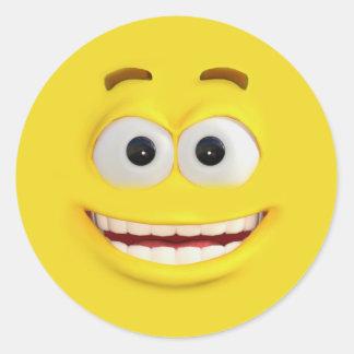 Pegatina Redonda 3D efecto feliz Emoji