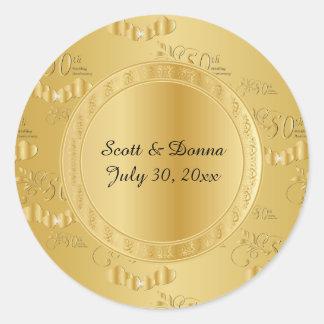Pegatina Redonda 50.o Aniversario de boda de oro