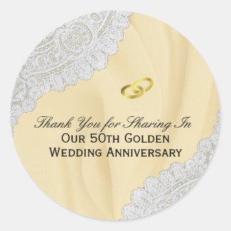 Pegatina Redonda 50.o El aniversario de boda de oro le agradece