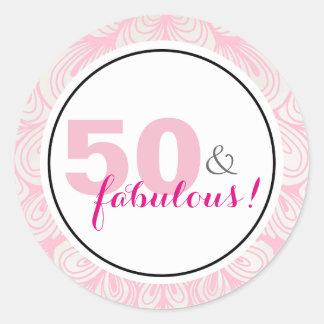 Pegatina Redonda 50 y 50.os pegatinas fabulosos del cumpleaños