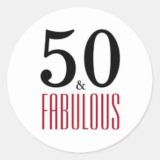 Pegatina Redonda 50 y cumpleaños de la tipografía fabulosa del |