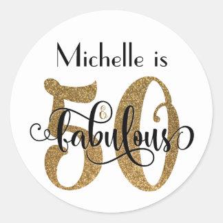 Pegatina Redonda 50 y cumpleaños fabuloso de la tipografía del