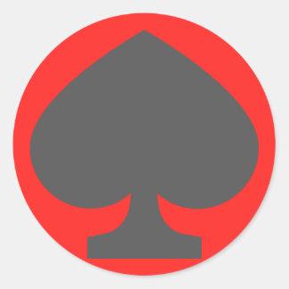 Pegatina Redonda 52 espadas de la baraja