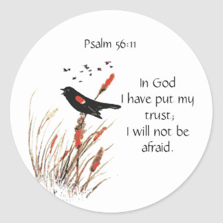Pegatina Redonda 56:11 del salmo de la escritura de la biblia no