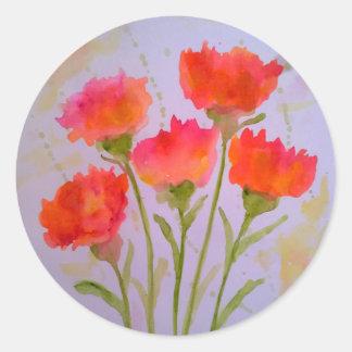 Pegatina Redonda 5 pegatinas vivos de las flores de la acuarela de