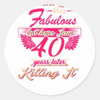 Pegatina Redonda 65.a camiseta linda del regalo de la fiesta de