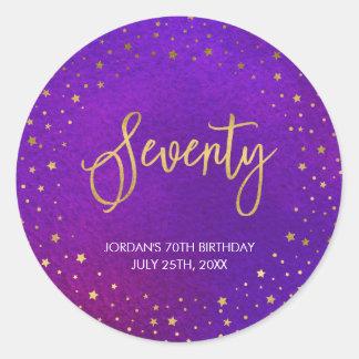 Pegatina Redonda 70.o cumpleaños de la acuarela púrpura estrellada