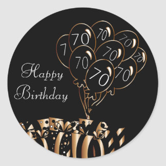 Pegatina Redonda 70.o cumpleaños feliz