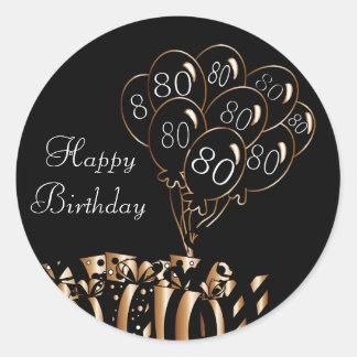 Pegatina Redonda 80.o cumpleaños feliz