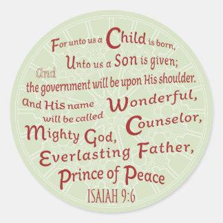 Pegatina Redonda 9:6 de Isaías en colores del navidad