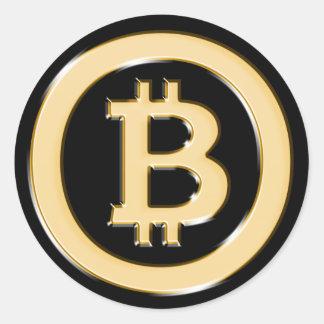 Pegatina Redonda AA568-Bitcoin-Made-of-Gold-symbol