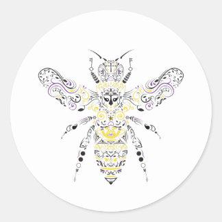 Pegatina Redonda abeja adornada de la miel