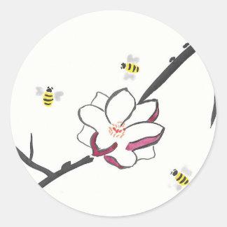 Pegatina Redonda Abejas de la magnolia y de la miel