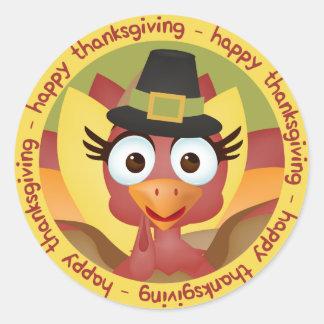 Pegatina Redonda Acción de gracias feliz de Turquía del dibujo