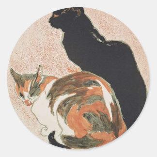 Pegatina Redonda Acuarela - 2 gatos - Théophile Alejandro Steinlen