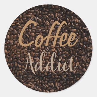 Pegatina Redonda Adicto al café