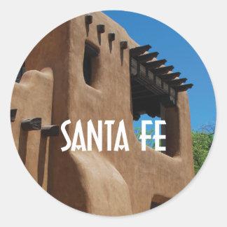 Pegatina Redonda Adobe de Santa Fe New México