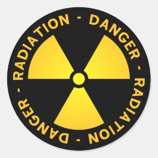 Pegatina Redonda Advertencia amarilla de la radiación