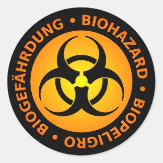 Pegatina Redonda Advertencia trilingüe anaranjada del Biohazard