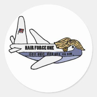 Pegatina Redonda Aeroplano presidencial divertido de Donald Trump