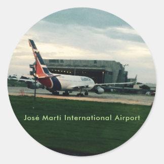 Pegatina Redonda Aeropuerto internacional Hava Cuba de José Martí