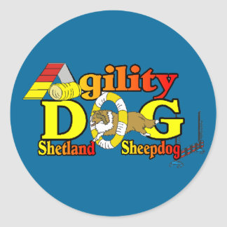 Pegatina Redonda Agilidad de Sheltie del perro pastor de Shetland