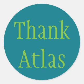Pegatina Redonda Agradezca el atlas
