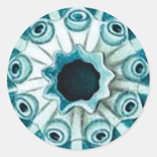 Pegatina Redonda agujero y ojos azules