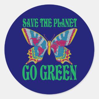 Pegatina Redonda Ahorre el planeta van verde