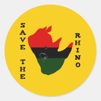 Pegatina Redonda Ahorre el rinoceronte con amarillo del rasgón de