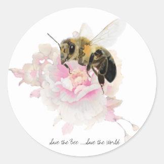 Pegatina Redonda ¡Ahorre la abeja! ¡Ahorre el mundo! Abeja bonita