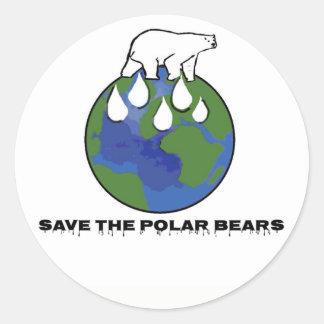 Pegatina Redonda Ahorre los osos polares