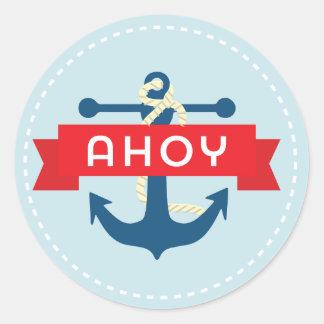 Pegatina Redonda ¡Ahoy! Pegatinas náuticos del ancla