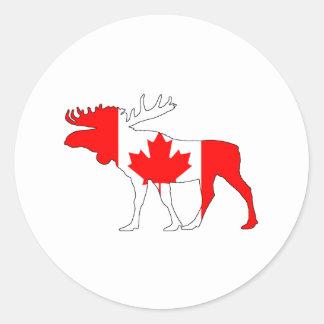 Pegatina Redonda Alces de Canadá